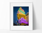 Neon Ice Cream Cone Sign Photo - Retro Kitchen Wall Decor - Neon Sign - Fine Art