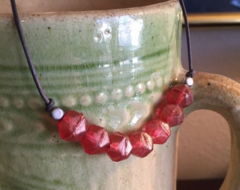 Beaded Necklace Coral Pink Glass Layering