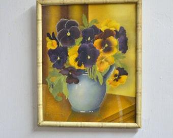 1940s Pansies Framed Watercolor Print