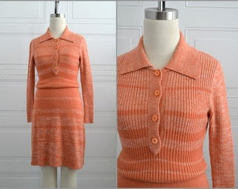 1970s Y.E.S. Orange Space Dyed Knit Sweater Dress