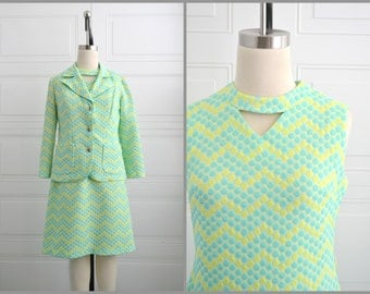 1960s Castello d'Elmo Dot Chevron Jacket and Dress Set