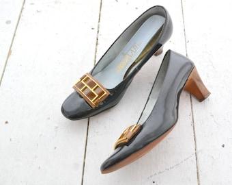 1960s Bazaar Patent Vinyl Heels, Size 8 1/2 AAA