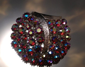 Vintage Brooch Aurora Borealis Signed Art Red Gems Costume Jewelry