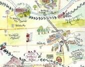 Custom Wedding Map- Calligraphy and Watercolor WITH ORIGINAL ARTWORK