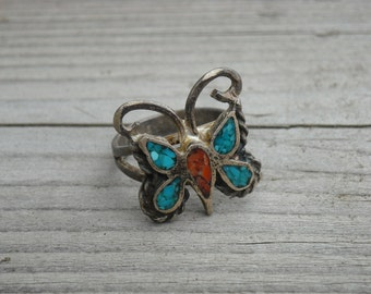 Vintage Turquoise Orange Red Coral Stone Silver Butterfly Ring Size 7 Native American Indian Southwestern Bohemian Southwest Boho Western
