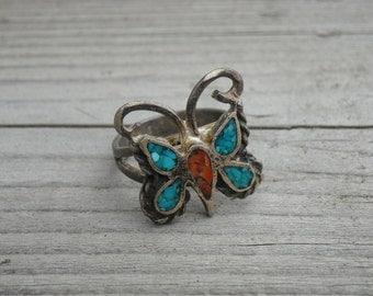 Vintage Turquoise Orange Carnelian Stone Butterfly Silver Ring Size 7 Native American Indian Southwestern Bohemian Southwest Boho Western