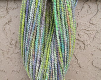 Handspun art yarn MINTY AIR 84 yards free U.S. shipping; green, yellow, lavender, aqua, blue, orange