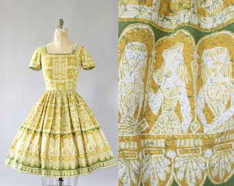 Vintage 50s Dress/ 1950s Cotton Dress/ Jerry Gilden Orange & Green Egyptian Novelty Print Cotton Dress M