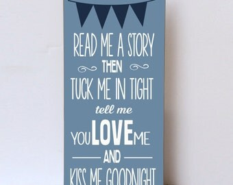 Read Me A Story Wood Sign , Tuck Me In Tight , Nursery Decor, Children's Room Decor,  Baby Shower Gift , Nursery Art, Wall Art For Child