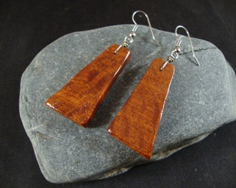 Beautiful Amboyna Burl Wood Dangle Earrings - Natural wood - Great gift for a birthday or anniversary