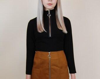 ROJAS black zipper turtleneck long sleeve black turtlenect long turtleneck mock neck zipper top black top black zipper top long sleeve top