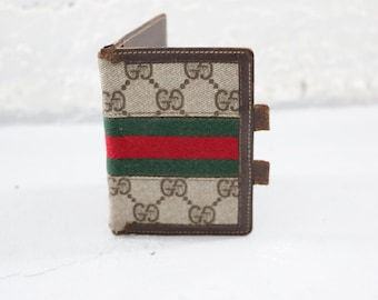 Gucci Wallet, 70s brown green and red striped large monogram bi fold card holder wallet