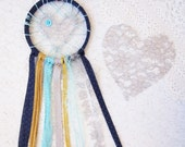 Lace Dream Catcher, Navy Blue, Aqua, Grey & Mustard Yellow, Shabby Chic Love Catcher, Nursery Decor, Baby Boy Gift