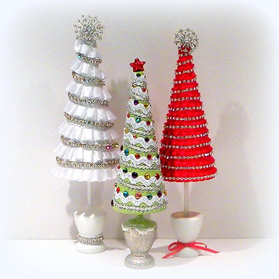 Red Ribbon Christmas Tree Christmas Decoration Mantel Decor