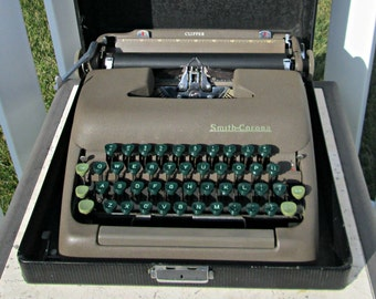 Vintage Portable Typewriter with Case - Smith Corona Clipper - Brown Metal with Green Keys Typewriter