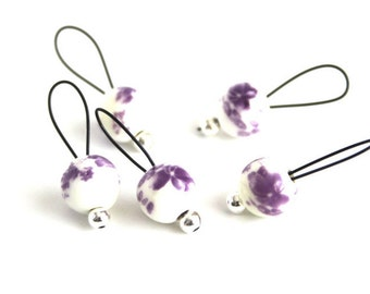 Bead Stitch Markers - snag free - purple flowers on ceramic 8mm round - set of 5