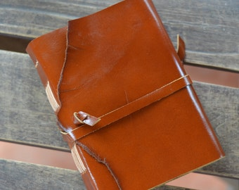 "Leather Journal, handmade, 5X7"", Rustic, LINED or plain"