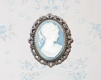 Cameo Brooch  - 'MYSTERIOUS LADY'  Vintage Inspired Victorian Cameo Brooch in Antique Bronze - Wedgwood Blue - Cameo Pin