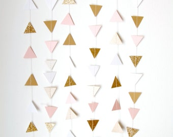 Gold, Blush Pink and White Glitter Triangle Bunting Garland - Gold Wedding Decor - Pink and Gold Party Decor, Rustic Shabby Chic Neutrals