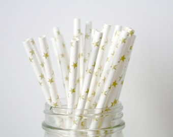 Paper Straws . Gold Stars  . Gold Wedding / Baby shower decoration / mason jar buffet table / Twinkle Twinkle Birthday Party / Anniversary