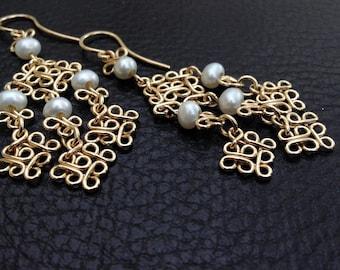 14k Gold Filled white pearls earrings, filigree chandelier earrings, dangle, handmade, gypsy, oriental, arabesque ,geometric, morrocan
