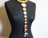 RESERVED Rare Trifari Copper and Silver Space Age Modernist Very Long Disk Necklace