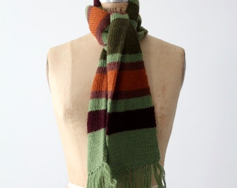 FREE SHIP  vintage stripe scarf, green striped scarf