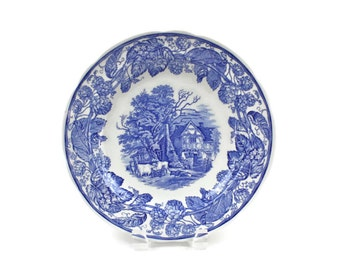 Spode Blue Room Plate - Dinner or Cabinet Plate, Blue Transferware Plate, RURAL SCENES, Collectible English Plate, c.1990s