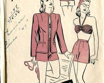 Advance 3975 1940s Swimsuit Coverup Bikini Bra Shorts Jacket Sewing Beach Resort Pattern B30