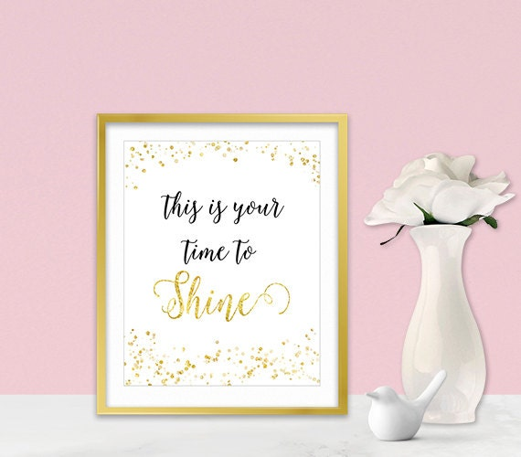 Canvas wall art inspirational poster gold glitter sparkle - Sparkle wall decor ...