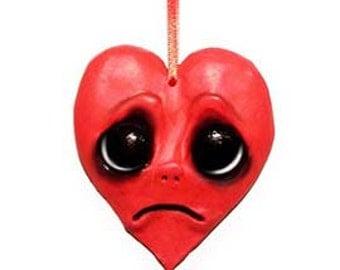Broken Heart Ornament - Creepy Cute - Big Eyes