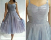 80s Metallic Blue Party Dress S, M / TULLE Dress / Ice Blue / Zum Zum / Party Dress / Full Sweep / Spaghetti Straps /