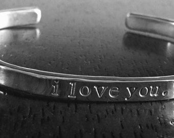 Thick sterling silver personalized cuff bracelet
