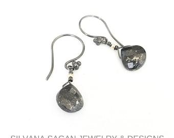 Pyrite Earrings, Silver Pyrite Earrings, Silver Tear Drop Pyrite Earrings, Tear Drop Pyrite Earrings, Pyrite Tear Drop, Tear Drop Earrings