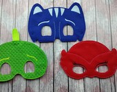 Pajama Super Heroes Set, Children's mask, Red Owl Girl, Blue Cat Boy, Green Gecko Lizard Boy, bedtime hero, PJ inspired masks