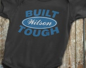 Ford Baby Clothes, Built Ford Tough Custom Onesie, Ford Onesie, Featuring your Last Name