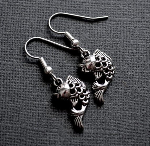 Silver koi fish earrings for Silver koi fish