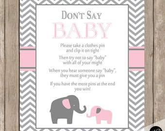 Donu0027t Say Baby Game Sign Pink And Gray Elephant Theme   Clothes Pin Game