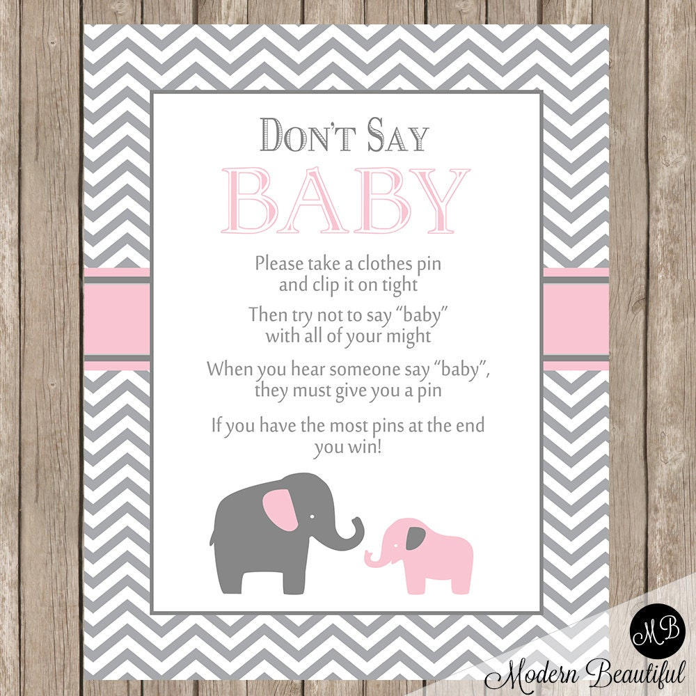 Don't Say Baby Game Sign Pink and Gray Elephant Theme