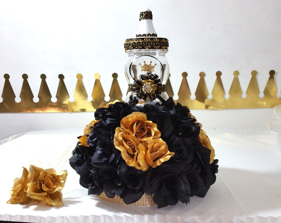 black gold baby shower centerpiece with flowers for prince
