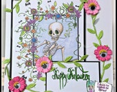 INSTANT DOWNLOAD Creepy Cute Eyeball & Bones Flower Frame Stamp w/ Happy Halloween Sentiment -   Image No.334 by Lizzy Love
