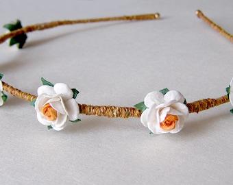 White and Orange Rose Headband