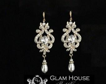 Gold earrings,Pearl earrings,wedding jewelry,gold bridal jewelry,bridal accessories,gold wedding accessories,gold earrings dangle