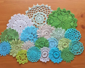 Beige, White, Green, and Blue Colors of Hand Dyed Vintage Crochet Doilies, Set of 20 Craft Doilies
