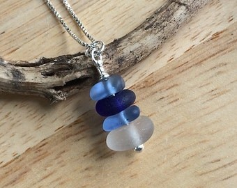 Genuine SEA GLASS Stacked Necklace AGENTIUM Sterling Silver Cobalt, Cornflower Blue and White