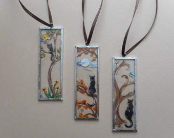 Hand Painted Cat Microscope Slide Ornaments