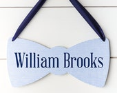Baby Shower Decorations Boy Nursery Decor, Blue Seersucker Bow Tie Baby Name Sign , Gender Reveal Party, Hospital Door Sign Gift for New Mom