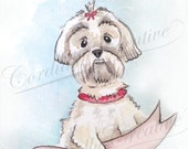 Lhasa Apso Illustration print, dog portrait illustrated with watercolors, can be customized with pet name, personalized, small white dog