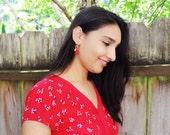 Tassel earrings | red tassel earrings | red turquoise gold tribal earrings | red bohemian earrings | boho-chic tassel earrings | unique gift