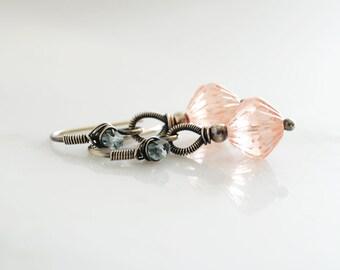 Blush earrings | peach earrings | pink earrings | blush bridesmaid earrings | blush blue dangle earrings | silver drop earrings unique gift